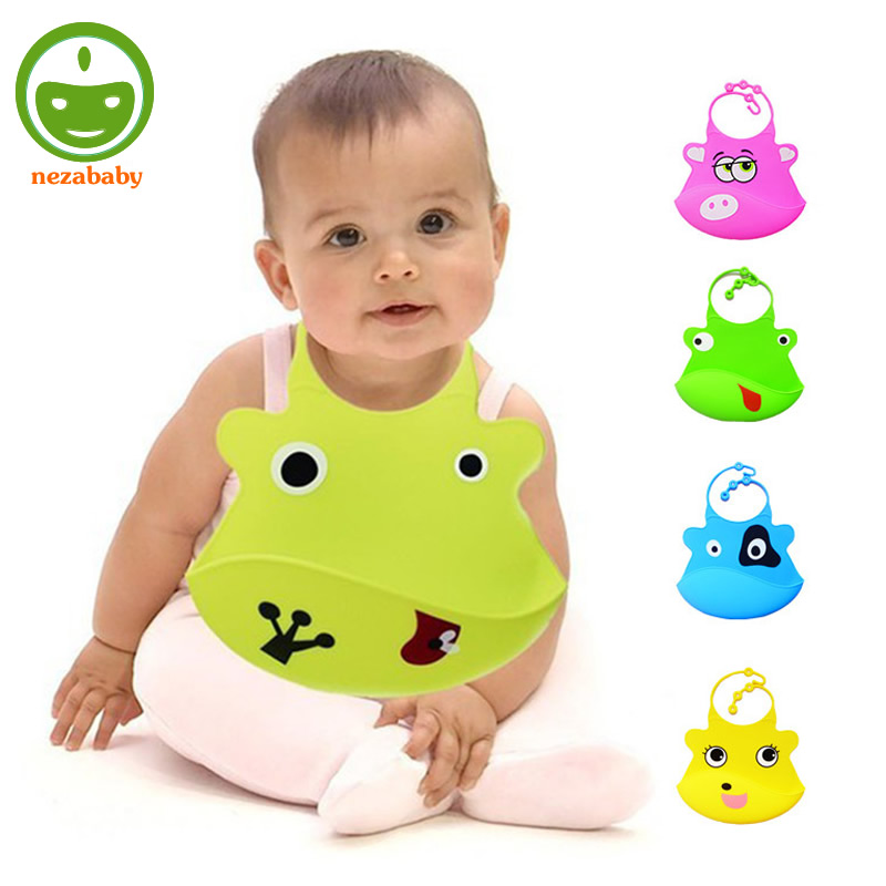 Cartoon Animals Baby Silicone Bibs Waterproof Silicone Baby Bibs Soft Infant Feeding Bibs Waterproof Lunch Bibs WZ20