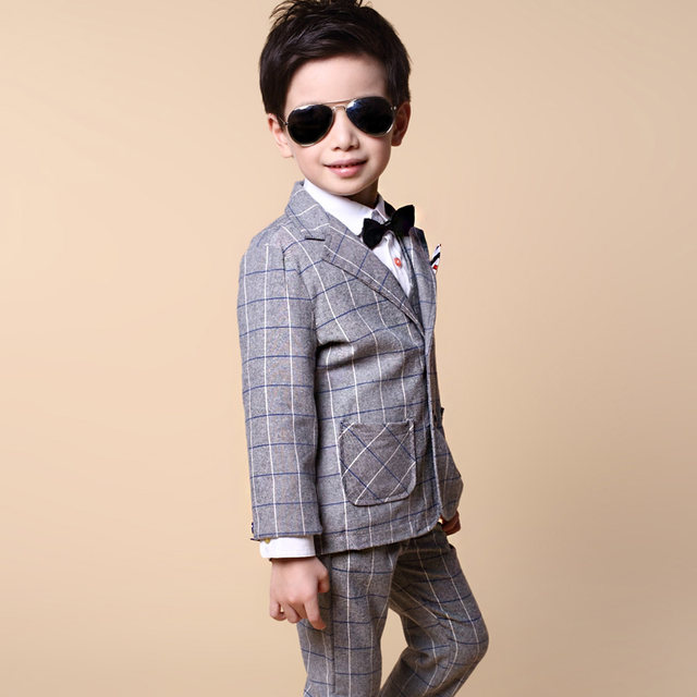 Online Shop Blazers for boys Spring Kids Clothes Suit formal Plaid ...