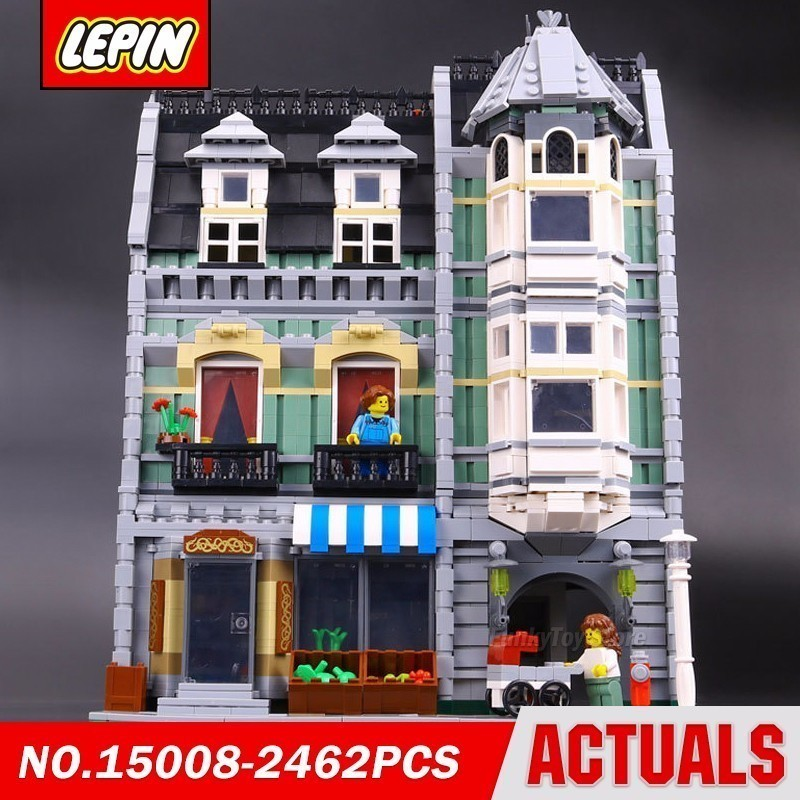 Lepin 15008 Green Grocer 10185 City Street Series Model Building Block Brick Kits Compatible Gift Toys loz mini diamond block world famous architecture financial center swfc shangha china city nanoblock model brick educational toys