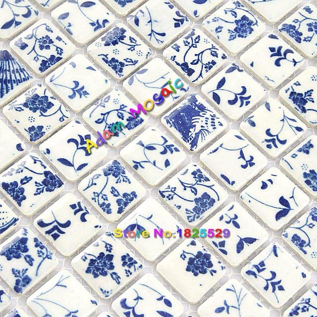 Square Tile Bathroom Wall Mosaic Blue And White Tiles