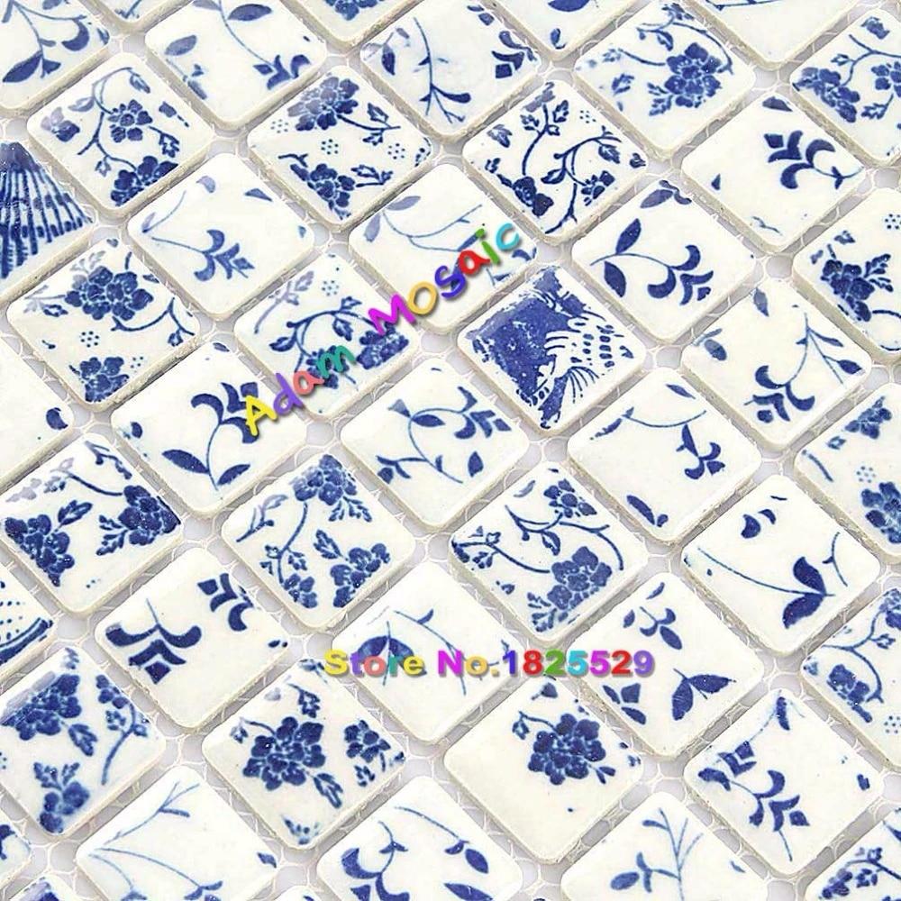 square tile bathroom wall mosaic blue and white tiles floral mosaic tiles flower backsplash kitchen materilas