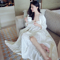 2016High Quality Silk Sleepwear Women Long-sleeve Nightgown Two Pieces Set Queen Robe Dress Gorgeous Vestidos Sexy Lingerie