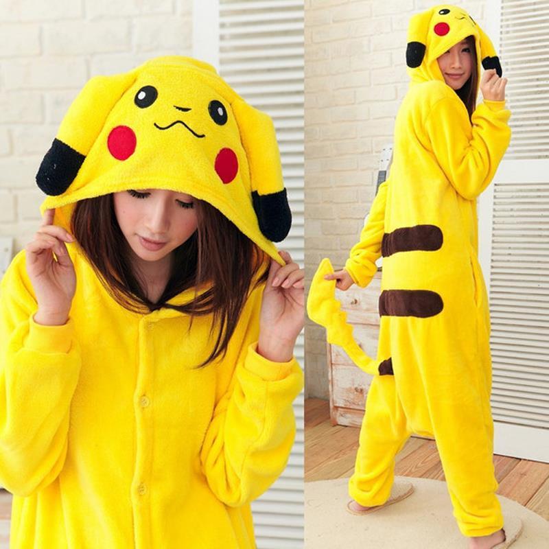 2017 Pokemon Pikachu Cosplay Animal Hoodie Sleepwear Pajamas Adult Yellow Unisex Pikachu Onesie Cosplay Costume Pikachu Pajamas