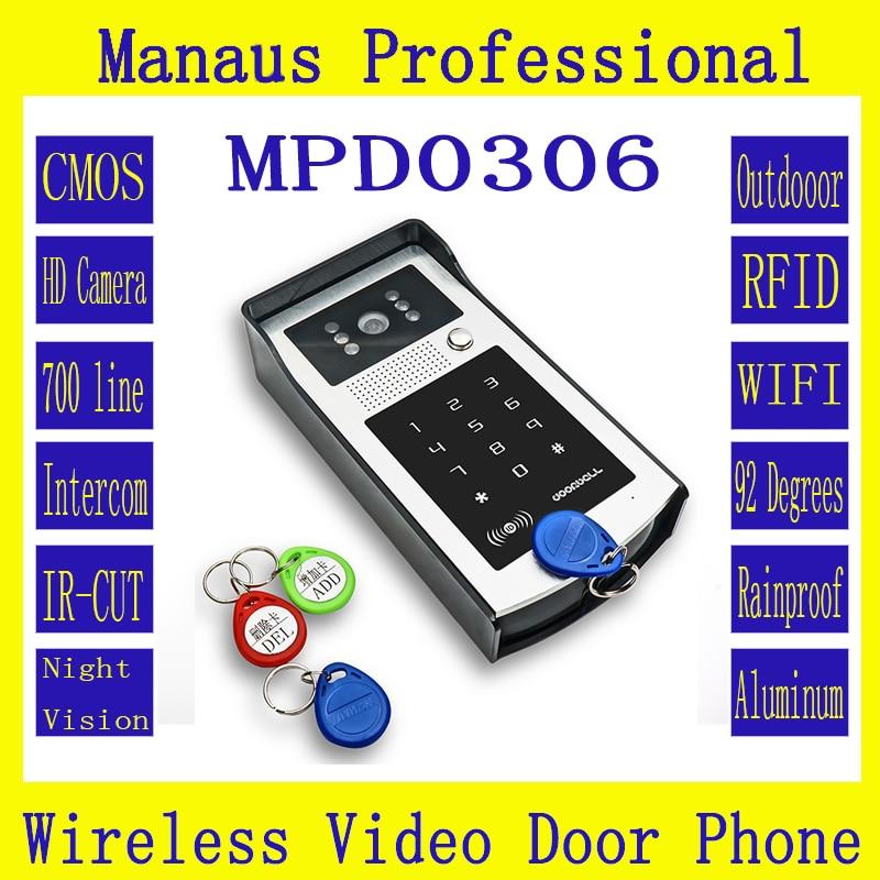 WIFI Video Doorphone Outdoor Monitor Intercom RFID & Code Keypad Doorbell Camera Apply To Families/floors/villas/apartments D306