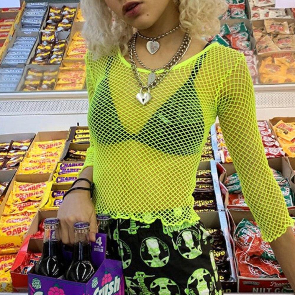Women Fishnet T-shirt Mesh See Through Neon Pink Top Shirt Fashion Summer Ladies Sexy Long Sleeve Short Top Beach Cover Up Tee