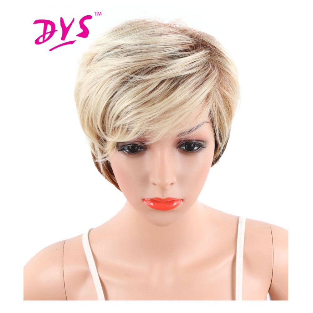 Deyngs Ombre Short Big Wavy Synthetic Wig For Black Women Blonde To Black Color -6378