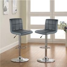 2Pcs/set Modern Style Six grid Backrest PU Leather Swivel Bar Chairs Height Adjustable Stool Bar Stools Bar Pub Counter HWC