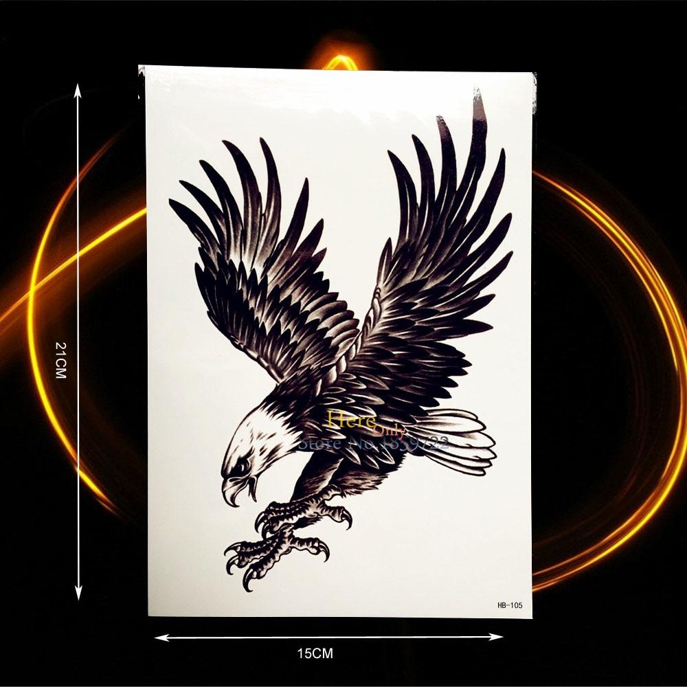 Hot Sale Fashion Black Flying Eagle Design Fake Waterproof