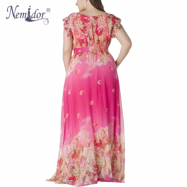 Women Chiffon Sexy V-neck Short Sleeve Beach Print Dress Stretchy Plus Size 7XL Summer Long Maxi Dress 3