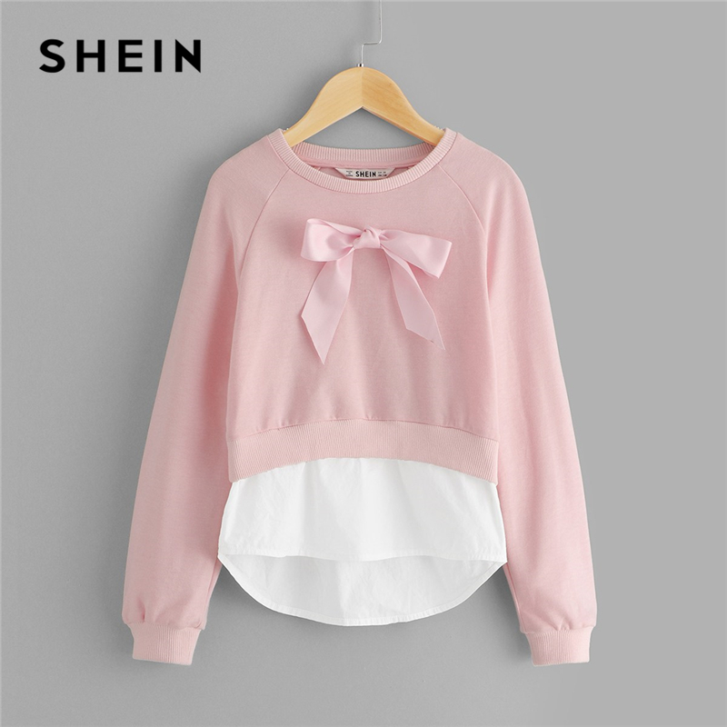 SHEIN Girls Pink Bow Front Casual Sweatshirts For Girls Tops 2019 Spring Fashion Long Sleeve Cute Pullover Children Clothes original many styles for choose colorful assorted casual high heel shoes boots for barbie doll fashion cute newest