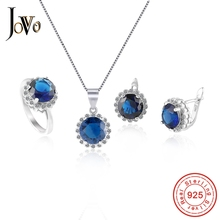JOVO Necklace and Earrings rings Jewelry Sets for Women 925 Sterling Silver round AAA Zircon 4 color Fashion party ladies gift
