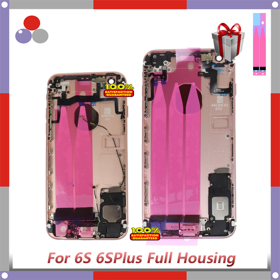 High Quality For Iphone 6S Or 6S Plus Back Middle Frame Chassis Full Housing Assembly Battery Cover Door Rear With Flex Cable