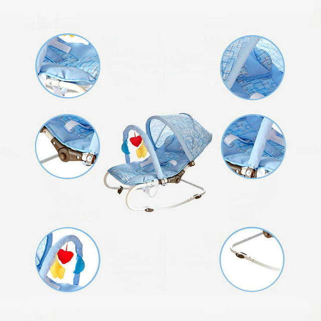 Portable Baby Rocking Chair, can sit can lie Multifunctional Baby Cradle, steel pipe Baby Chair with mosquito net 3