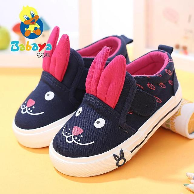2015 casual Autumn fashion cartoon rabbit low top child infant girl first walkers toddle tenis canvas sneakers baby casual shoes