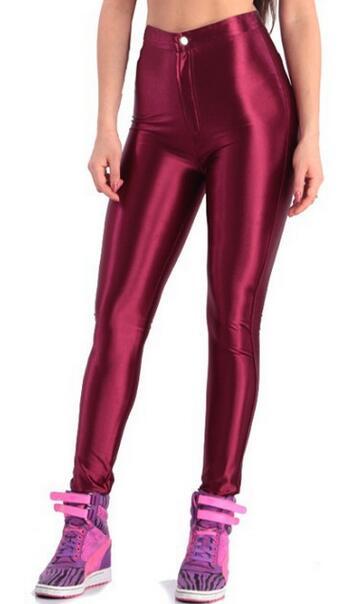 2019 American Style Pencil Pants Shiny Disco Pants High Waist Women's Trousers Leggings Pants