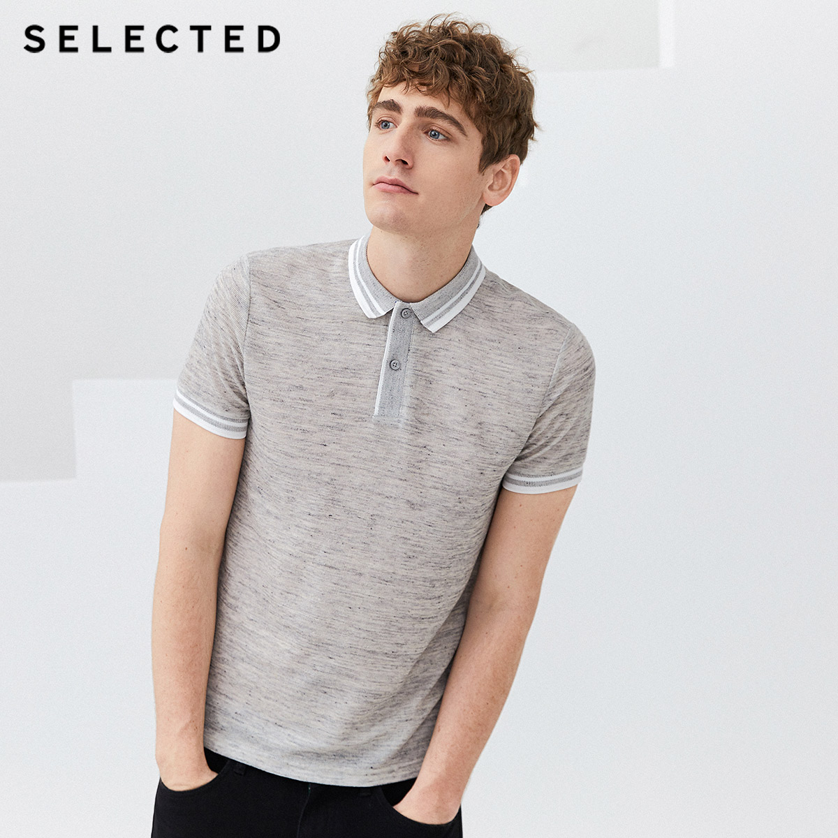 SELECTED Men's Summer Linen-blending Striped Short-sleeved Poloshirt S|419206539