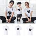 Family Matching Outfit Cute Clothes T-shirt  Summer Lovely Mother Daughter Father Son Heart Simple Basic Parent-child