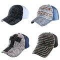 De alta calidad de mujer de marca gorra de béisbol de nueva moda rhinestone crystal denim mujer snapbacks hip hop gorras snapback caps wholesale