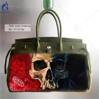 High Quality Military Green Crossbody Bags for Men Messenger Shoulder Bag Art Hand Painted Graffiti Skull Canvas Satchel Handbag