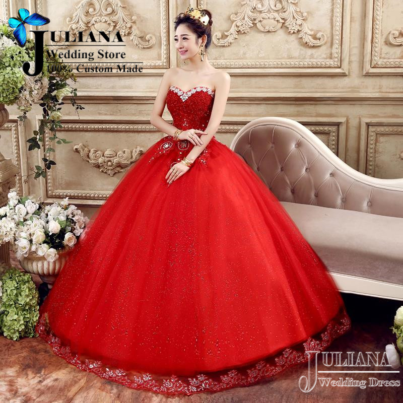 Luxury Crystal Beaded Wedding Dresses Red Princess Ball Gown Lace ...