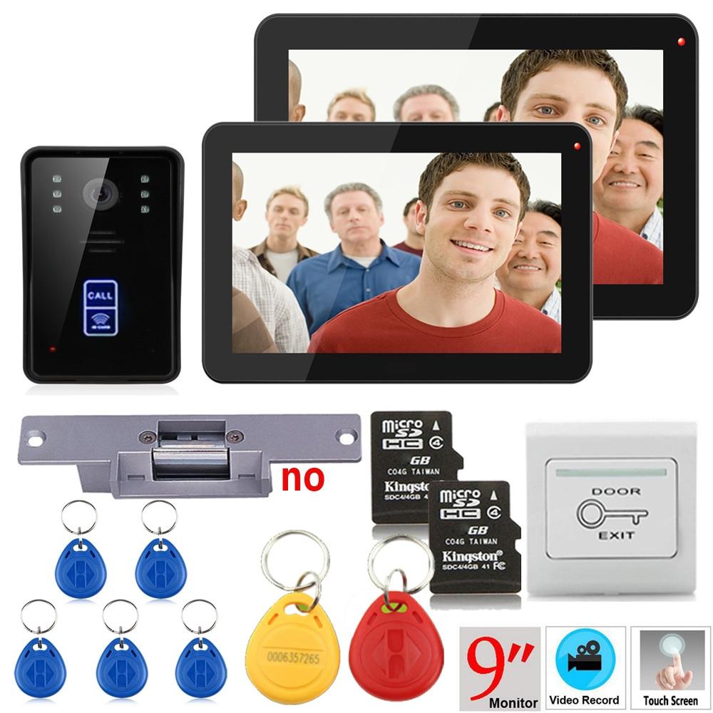 9inch 2 Monitors Recording  RFID 900TVL Color Video Door Phone Intercom Kit Rainproof  Night Vision 8G TF Card+Electric Strike L