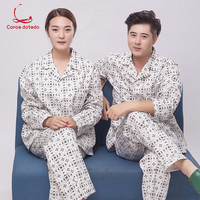 Hospital uniform cotton suit men and women long sleeve pajama style hospital uniform easy to wear off