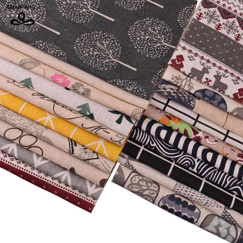 QUANFANG 20 sztuk/partia tkanina bawełniana pościel dla Patchwork Handmade Diy Hometextile tkaniny lalki torby poduszki losowy kolor 10cm x 10cm