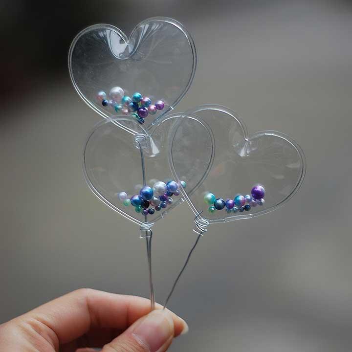 G05-X5157 Children Baby Gift Toy 1:6 Dollhouse Mini Furniture Miniature Rement Bjd Photo Props Transparent Love Balloon 3pcs/set