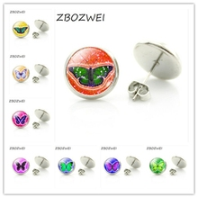 Butterfly Art Picture Glass Cabochon Stud Earrings Animal Style Fashion Jewelry for Women