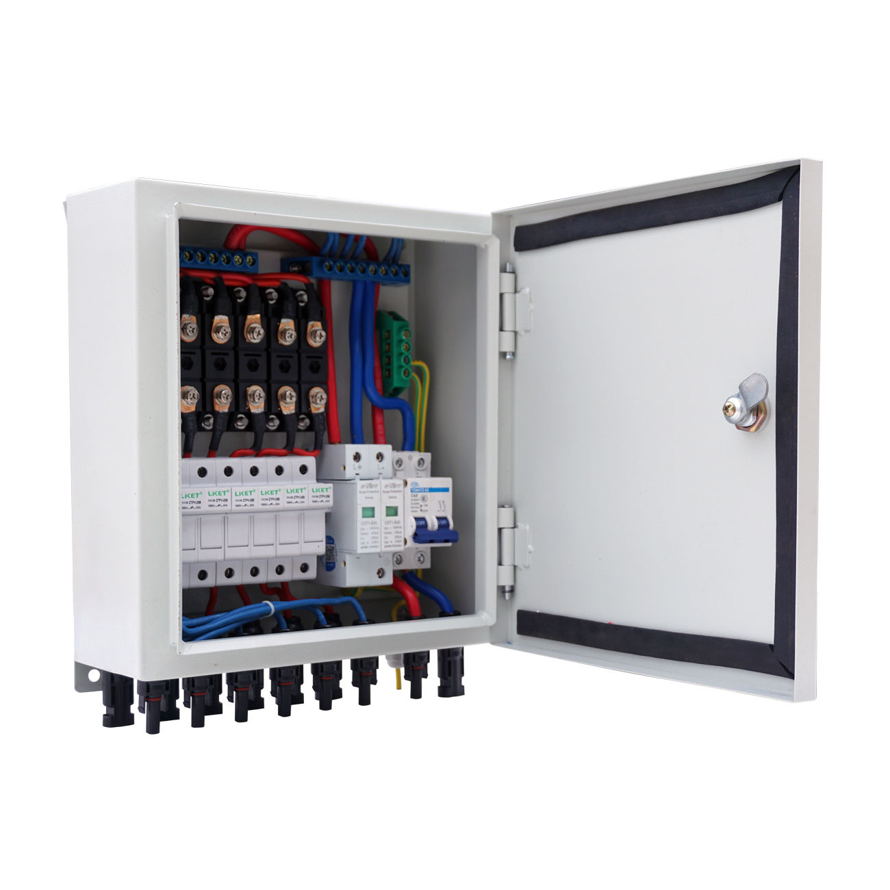 6-String Solar PV Combiner Box W Circuit Breakers Surge Lightning Protection 12 string input to 1 string output for off grid solar energy system photovoltaic array solar pv combiner box