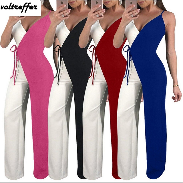 c34cb68e58068 Open Back Lace Up Flare Pants Sexy One Piece Jumpsuits And Rompers For Women  Wrap Black And White Patchwork Wide Leg Overalls