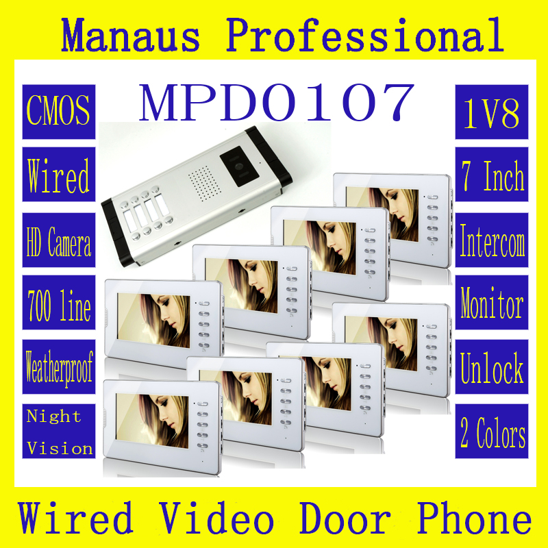 D107C Hot Selling Profession smart home 7 inch color TFT LCD screen monitor, has wired Digit video intercom doorbell function 7 inch video doorbell tft lcd hd screen wired video doorphone for villa one monitor with one metal outdoor unit night vision