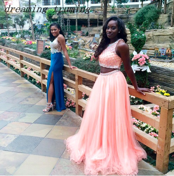 Pink African Two Piece Prom Dresses Sleeveless A Line Women Beading Pink Black Girl Evening Celebrity Gowns Robe De Soiree