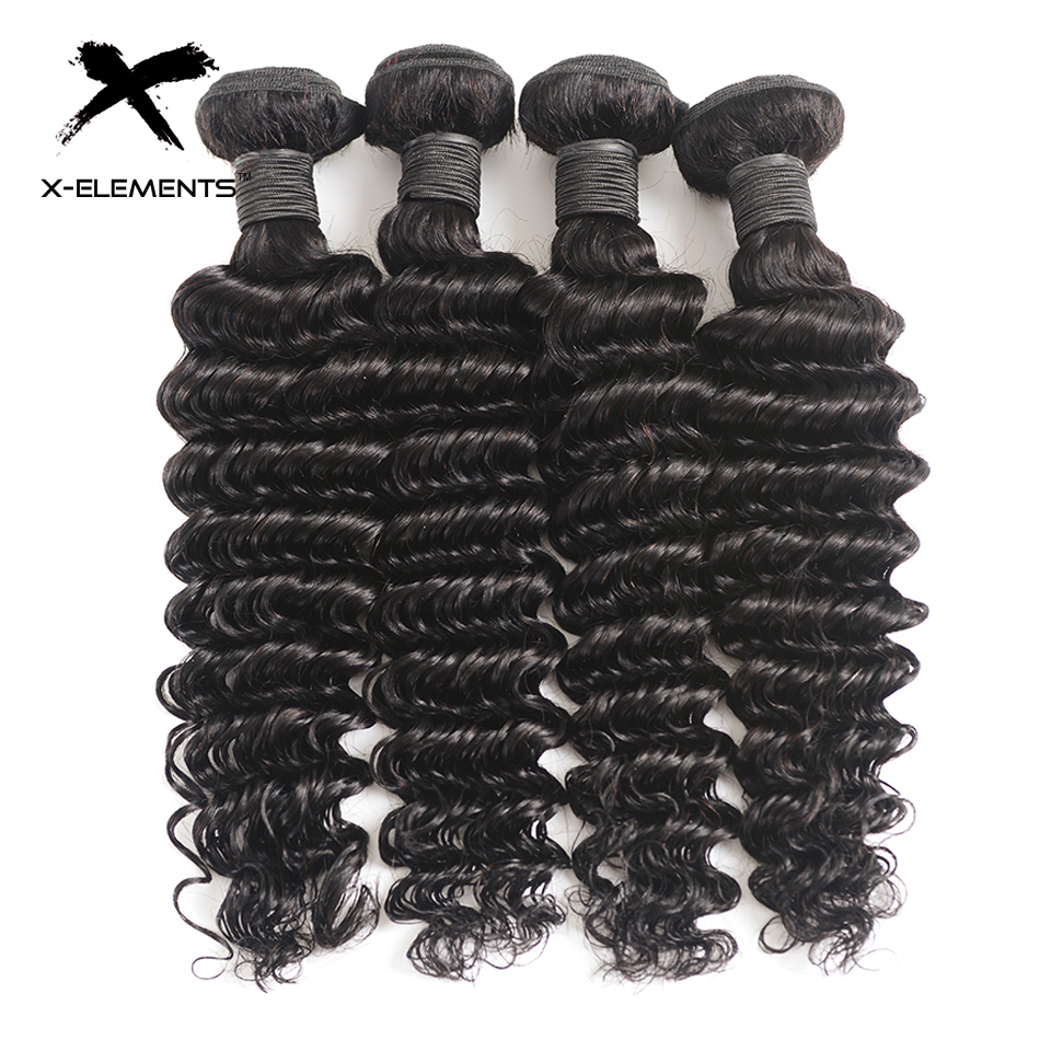 X-Elements Hair Peruvian Deep Wave Hair 1/3/4 Bundles Deals 100% Human Hair Weav