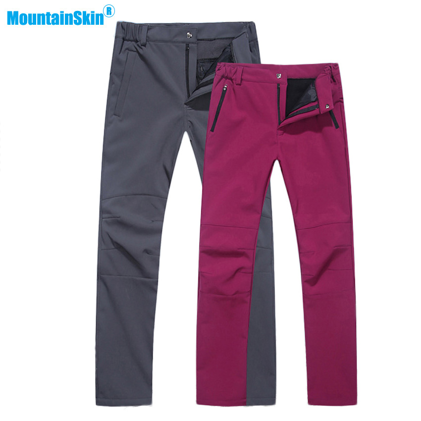 Mountainskin Men Women Winter Fleece Softshell Pants Outdoor Sports Thermal Trousers Hiking Trekking Climbing Skiing Brand MA191