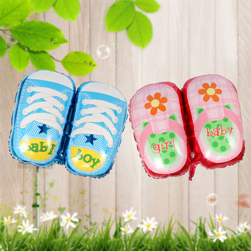 80*47cm Cartoon Shoes Shape Foil Balloon Digit Helium Ballons Hundred Days Baby Shower Boy Girl First Birthday Party Decor