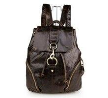 Genuine leather unisex backpack school Ipad bag vintage man backpack women men travel bags Male shoulder bag #MD-J7286