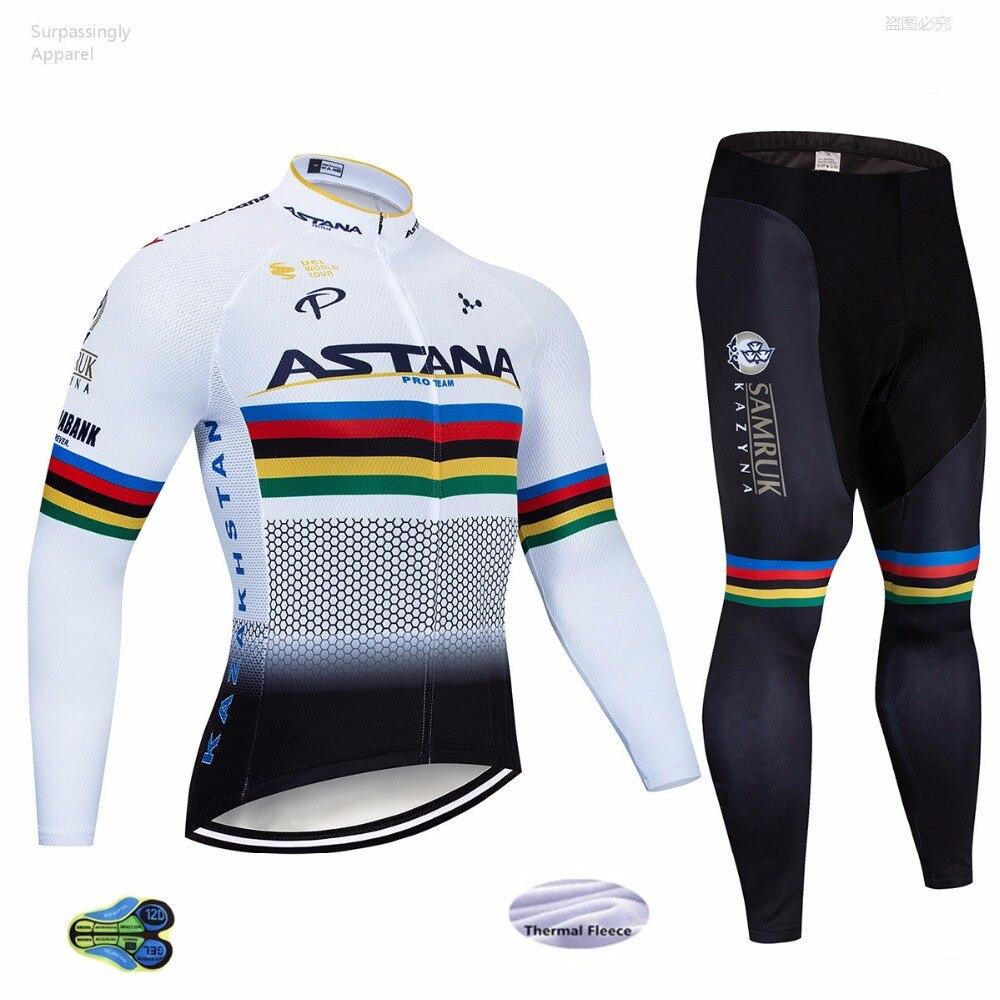 2019 ASTANA Pro Team blanc Maillot cyclisme vêtements vtt vêtements de vélo Ropa Ciclismo hiver thermique polaire cyclisme Maillot 12D Gel