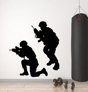 Image 1 - ビニール壁デカール軍事戦争兵士武器男性軍ステッカー壁画 2FJ38