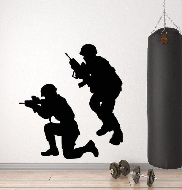 ビニール壁デカール軍事戦争兵士武器男性軍ステッカー壁画 2FJ38