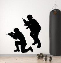 Calcomanía de vinilo para pared militar soldados de guerra armas hombres pegatinas del ejército Mural 2FJ38