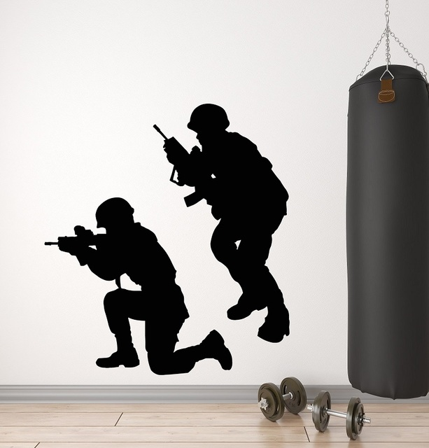 Vinyl Wand Aufkleber Militärischen Krieg Soldaten Waffen Männer Armee Aufkleber Wandbild 2FJ38