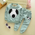 New Autumn Baby Plus Velvet Two Pieces Clothing Sets Casual Children's Cute Trouser Suits