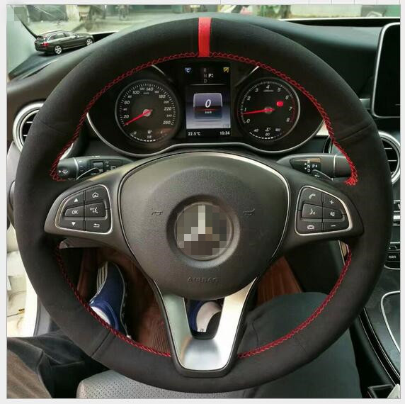 Black Hand-stitched Car Steering Wheel Cover for Benz C180 E200 GLK 300 GLK Custom special automobile handle GLK