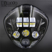 BJMOTO Black LED Motorcycle Headlight 60W 12V Hi&Low IP68 Motorbike Head Lamp For Victory Cruisers Cross Country 2007 2016