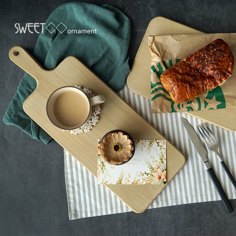 SWEETGO Wood bread tray vintage Chopping block Handle pizza board Nordic cake food photography props wooden bread plate
