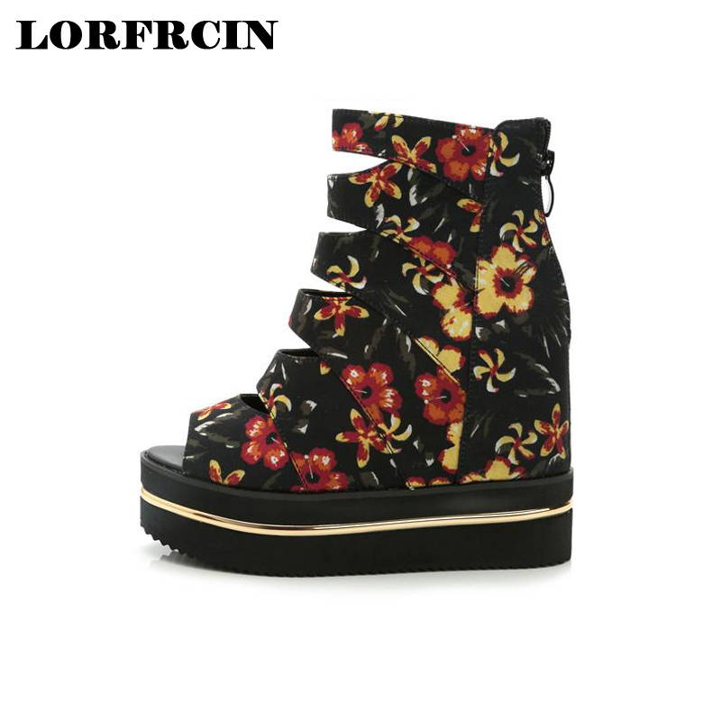 LORFRCIN Summer Wedges Women's Sandals Print  Gladiator Women Sandals Platform Open Toe 12 cm Super High Heel Women Shoes Female e toy word summer platform wedges women sandals antiskid high heels shoes string beads open toe female slippers