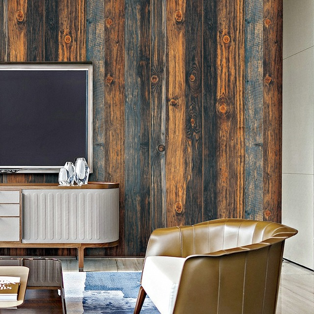HaokHome Vintage Wood Wallpaper Rolls Brown Black Blue Wooden Plank Murals  Home Kitchen Bathroom. HaokHome Vintage Wood Wallpaper Rolls Brown Black Blue Wooden