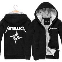 Winter Mens Zipper Mantel Schwarz Lose Männer Hoodies Metallica rock Band Sweatshirts Gedruckt Strickjacke Plus Samt Verdickung Jacke