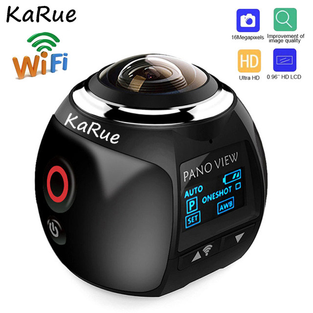 KaRue V1 360 Degree Sport Driving VR Camera Action Camera Wifi Mini 360 Action Camera Ultra HD Panorama Camera soocoo 360h wifi 360 degree panorama vr 4k camera 1080p 60fps full hd lcd screen mini sport action camera with remote controller